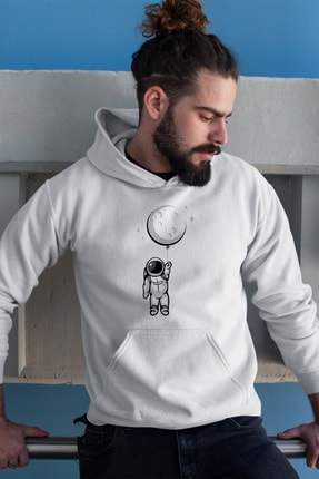 Angemiel Wear Balon Ayı Tutan Astronot Beyaz Erkek Kapüşonlu Sweatshirt Çanta Kombin 0