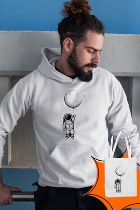 Angemiel Wear Balon Ayı Tutan Astronot Beyaz Erkek Kapüşonlu Sweatshirt Çanta Kombin 1