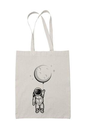 Angemiel Wear Balon Ayı Tutan Astronot Beyaz Erkek Kapüşonlu Sweatshirt Çanta Kombin 3