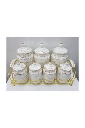Baharat Takımı Mermer Desenli Beyaz mermer desenli baharat