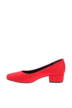 Dgn Kırmızı Süet Kadın Topuklu Ayakkabı 601-1609 2