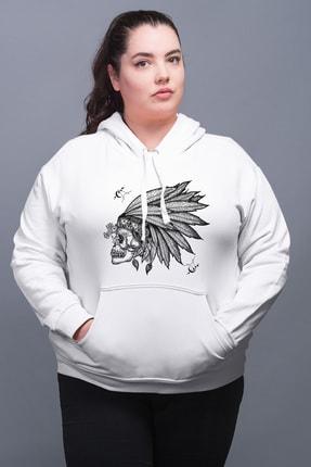 Angemiel Wear Kızıldereli Şapkalı Beyaz Kadın Kapüşonlu Sweatshirt 0
