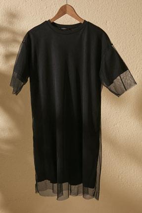 TRENDYOLMİLLA Siyah Bisiklet Yaka Tül Detaylı Örme  Elbise TWOSS20EL2985 4