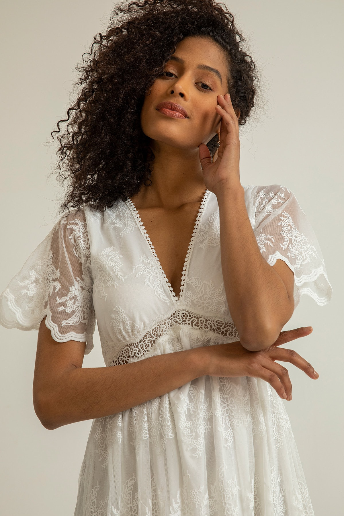Foremia Kadın Beyaz Derin V Yaka Dantelli Elbise Rty040-001 2