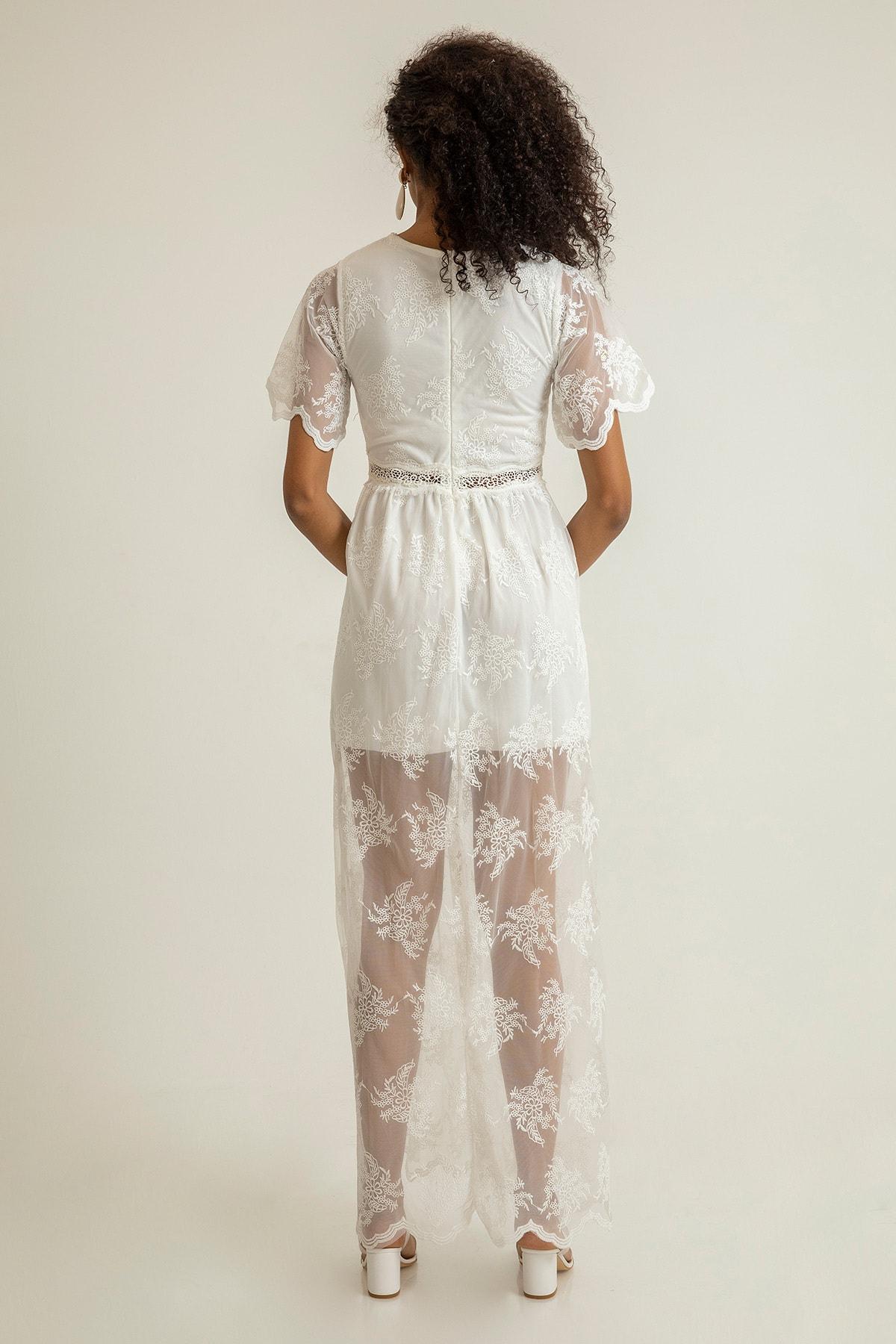 Foremia Kadın Beyaz Derin V Yaka Dantelli Elbise Rty040-001 3