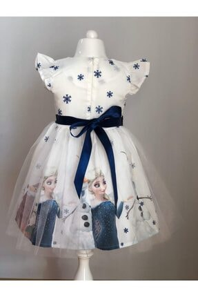 Buse&Eylül Bebe Beyaz Elsa Karlar Kraliçesi Kız Çocuk Elbisesi 1