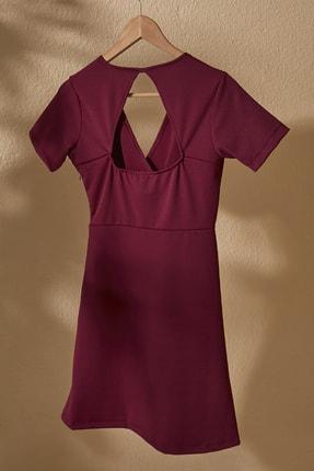 TRENDYOLMİLLA Mor Kruvaze Yaka Sırt Detaylı Örme Elbise TWOSS20EL2796 2