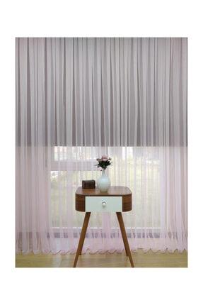 Esse Home Toz Pembe Ekru Geçişli Düz Tül Perde, 100x200 cm  Sık Pile, 1/3 0