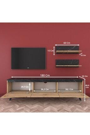 Rani Mobilya Rani D1 Duvar Raflı Kitaplıklı Tv Ünitesi Ahşap Ayaklı Tv Sehpası Mermer Desenli M48 1