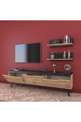 Rani Mobilya Rani D1 Duvar Raflı Kitaplıklı Tv Ünitesi Ahşap Ayaklı Tv Sehpası Mermer Desenli M48 2