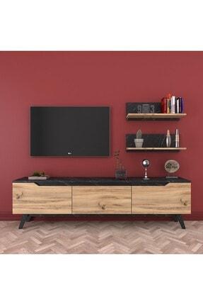 Rani Mobilya Rani D1 Duvar Raflı Kitaplıklı Tv Ünitesi Ahşap Ayaklı Tv Sehpası Mermer Desenli M48 3