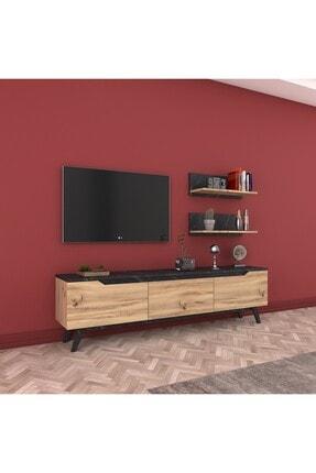 Rani Mobilya Rani D1 Duvar Raflı Kitaplıklı Tv Ünitesi Ahşap Ayaklı Tv Sehpası Mermer Desenli M48 4