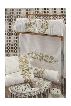 Fiesta El-yüz Havlusu Cotton Altın Simli Nakışlı 50x90 (12 Adet) Beyaz-altın Std 0