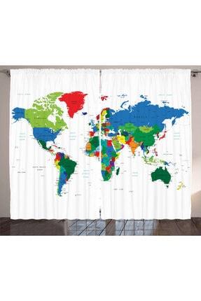 Orange Venue Haritalar Perde Rengarenk Dünya Haritası Desenli 0