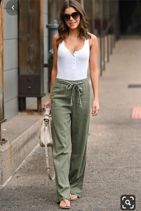 diaves Kadın Beli Lastikli Kuşak Detaylı Keten Pantolon 0