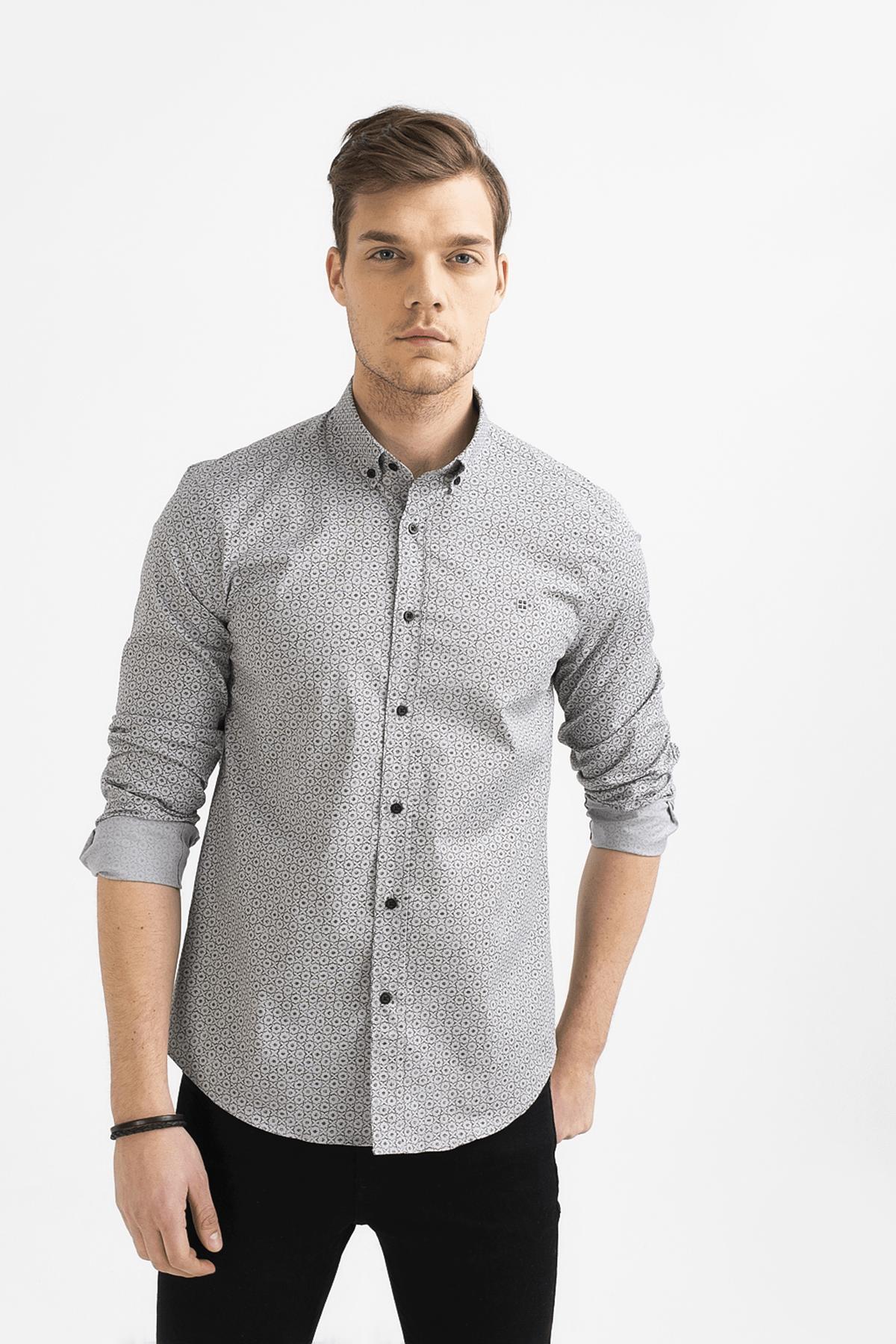 Avva Baskılı Alttan Britli Yaka Slim Fit Gömlek 0