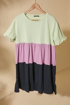 TRENDYOLMİLLA Mint Renk Bloklu Örme Elbise TWOSS20EL1638 0