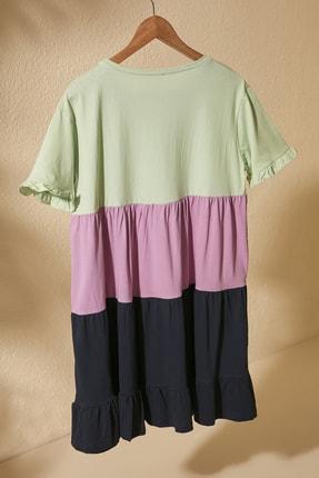 TRENDYOLMİLLA Mint Renk Bloklu Örme Elbise TWOSS20EL1638 2