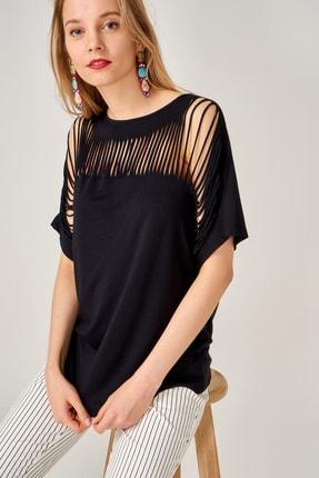 AQE FASHION Kadın Siyah Lazer Kesim Bluz 1