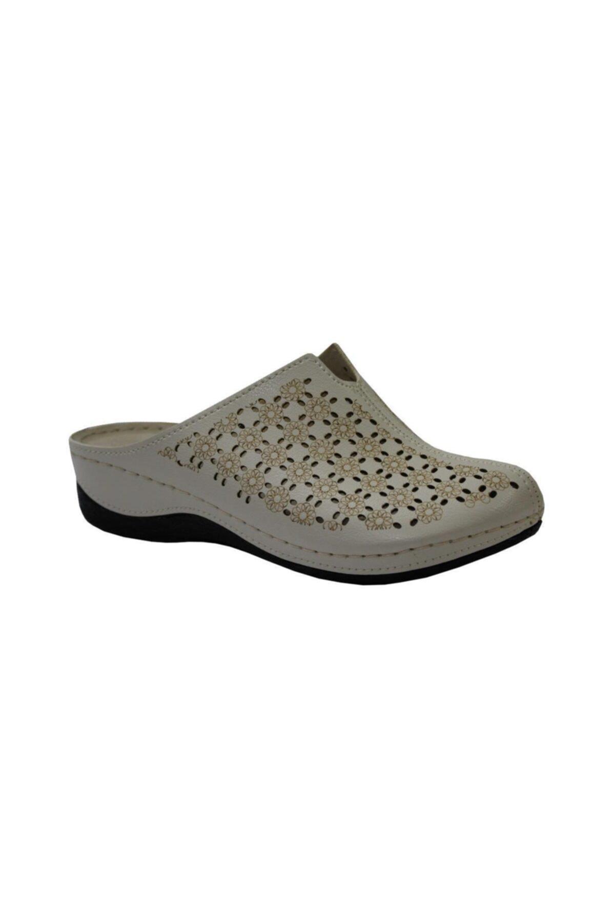 Muya 98330 Krem Anatomik Önü Kapalı Bayan Terlik & Sandalet