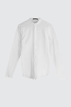 TRENDYOL MAN Beyaz Erkek Hakim Yaka Pike Örme Uzun kollu Gömlek TMNSS20GO0293 4