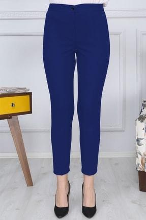 Gül Moda Saks Mavi Kemerli Dar Paça Kumaş Pantolon Likralı Cepsiz G011 0