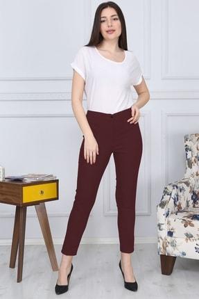 Gül Moda Bordo Kemerli Dar Paça Kumaş Pantolon Likralı Cepsiz G011 1