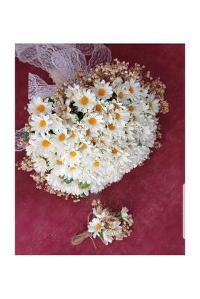 Evsay Papatya Gelin Buketi Ve Damat Yaka Çiçeği Ve Gelin Tacı 1