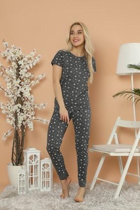 Strawberry Kadın Antrasit Pamuklu Baskılı Kısa Kol Pijama Takım 1
