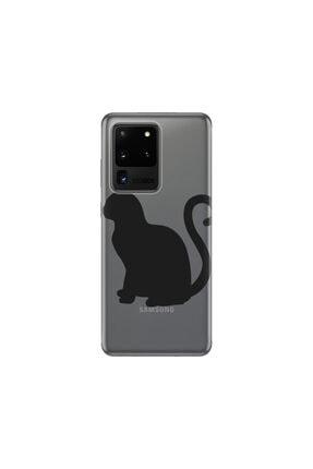 cupcase Samsung Galaxy S20 Ultra Kılıf Desenli Esnek Silikon Telefon Kabı Kapak - Kedicik 0