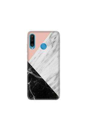 cupcase Huawei P30 Lite Kılıf Desenli Esnek Silikon Telefon Kabı Kapak - Siyah Pembe Beyaz Mermer 0