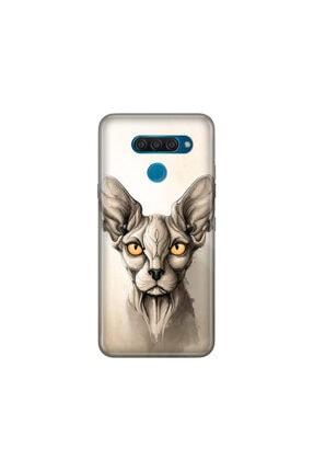 cupcase Lg Q60 Kılıf Desenli Esnek Silikon Telefon Kabı Kapak - Sfenks Kedi 0