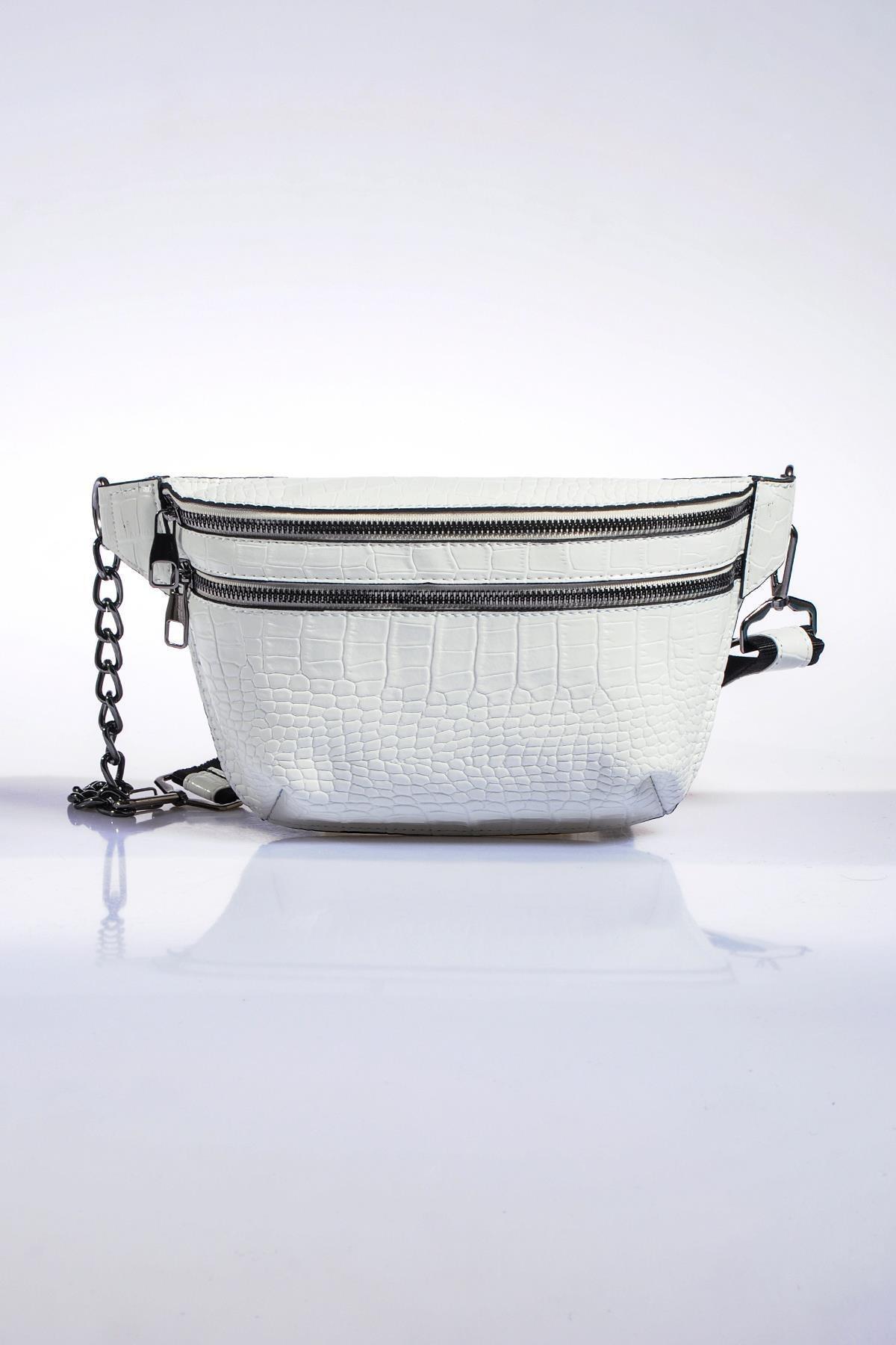 Sergio Giorgianni Kadın Beyaz Bel Çantası sg662-kroko beyaz 3