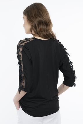 Hadise Kadın Siyah Siyah Dirsek Kol Yaprak Pullu Bluz 3463 2