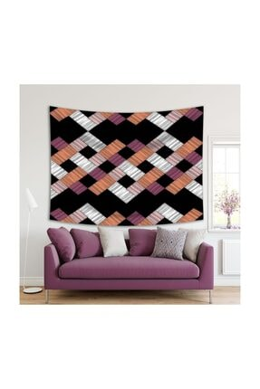 Henge Home Renkli Fırça Darbe Desenli Mor Beyaz Duvar Örtüsü 0