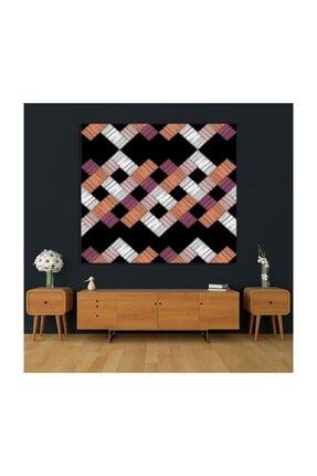 Henge Home Renkli Fırça Darbe Desenli Mor Beyaz Duvar Örtüsü 4