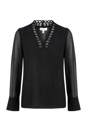 İpekyol Kadın Siyah Yaka Detaylı Şifon Bluz IS1190006125001 2