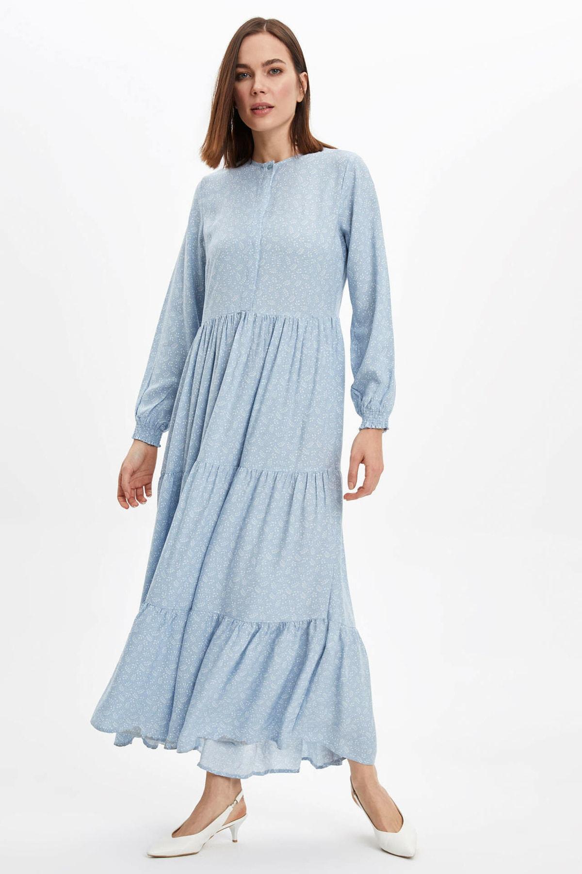Kadın Mavi Kol Detaylı Dokuma Elbise N0361AZ.20SP.BE524