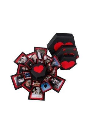 Evsay Patlayan Aşk Kutusu Altıgen Kalpli Içiçe 4'lü Kutu 0