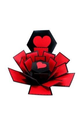 Evsay Patlayan Aşk Kutusu Altıgen Kalpli Içiçe 4'lü Kutu 1