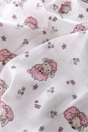 Caline Baby Müslin Bezi Örtü Kuzu Desen - Pembe 120x120 Cm + 4 Adet Ağız Mendili 1