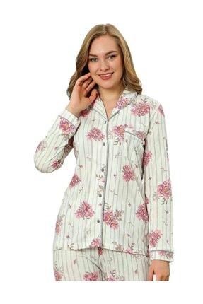 ALİMER Kadın Yazlık Uzun Kollu Önden Düğmeli Pijama Takımı Çiçek Desen 0