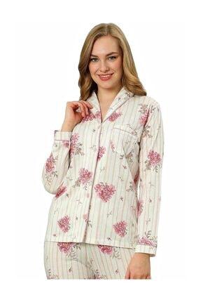 ALİMER Kadın Yazlık Uzun Kollu Önden Düğmeli Pijama Takımı Çiçek Desen 1