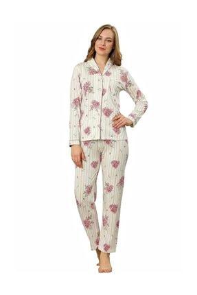 ALİMER Kadın Yazlık Uzun Kollu Önden Düğmeli Pijama Takımı Çiçek Desen 3
