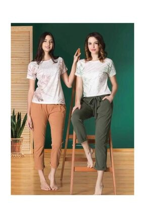 Poleren 6358 Kısa Kollu Yazlık Bayan Kadın Pijama Takımı Yeşil 0