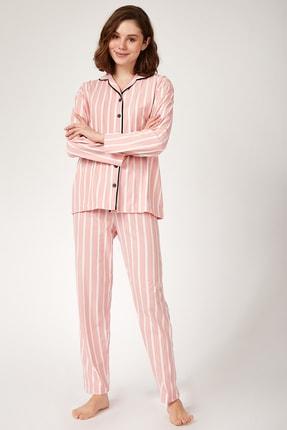 Happiness İst. Kadın Koyu Pembe Çizgili Pamuklu Örme Pijama Takımı GL00001 1