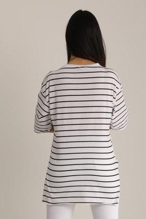 MD trend Kadın Siyah & Beyaz Çizgili Kol Katlı T-Shirt Mdt4890 4