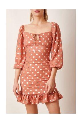 Never more Puantiyeli Mini Elbise Kiremit 2