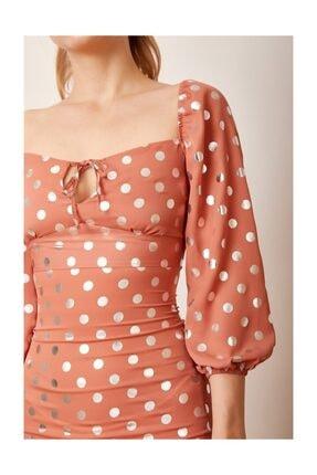 Never more Puantiyeli Mini Elbise Kiremit 3
