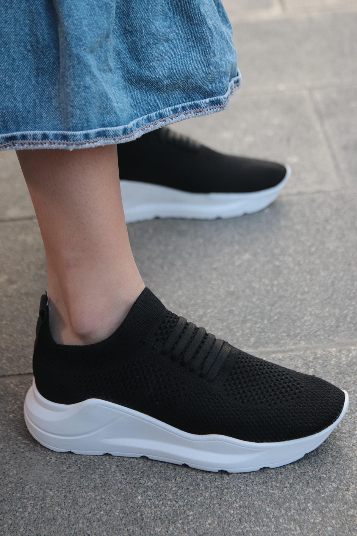 TRENDBU AYAKKABI Siyah Triko Kadın Sneaker